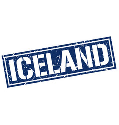 Iceland blue square stamp vector