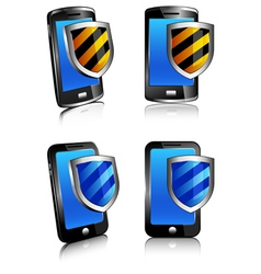 Icons Phones Shield vector image