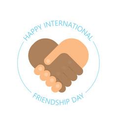 international handshake - friendship logo - happy vector image