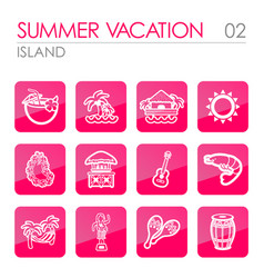 island beach icon set summer vacation vector image