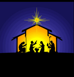 joseph and mary at the nursery of baby jesus vector image