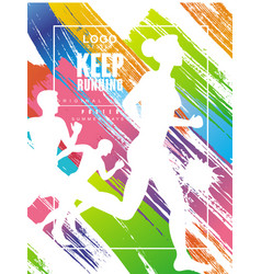 keep running logo gesign colorful poster for vector image