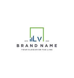 Letter lv square logo finance design vector