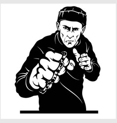 Man with brass knuckles gangster - ghetto vector