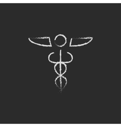 Medical symbol icon drawn in chalk vector image