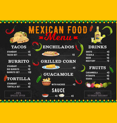 mexican food menu meals cartoon design vector image