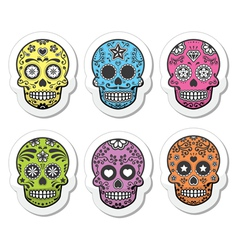 Mexican sugar skull Dia de los Muertos icons set vector image