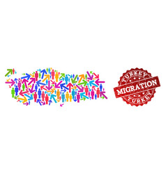 Migration collage of mosaic map of turkey and vector