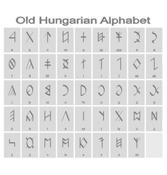 Monochrome icons with old hungarian alphabet vector