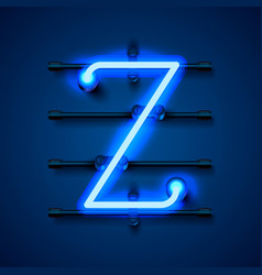 Neon font letter z art design signboard vector