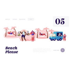 people spend time on tropical city beach lounging vector image