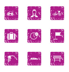 Permanent icons set grunge style vector