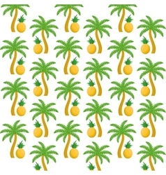 Pineapples fruits and palm trees background design vector