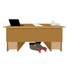 prostitute under table whore is under office desk vector image