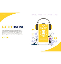 radio online website landing page design vector image
