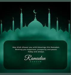 Ramadan kareem wishes background with mosque vector