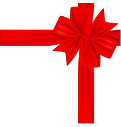 red gift ribbon and bow isolated on white vector image