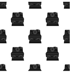 Retro photocamera icon in black style isolated on vector