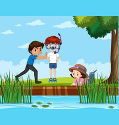 scene with kids in park vector image