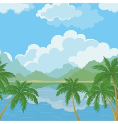 Seamless landscape sea and palm trees vector image