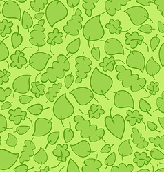 Seamless pattern with bright green spring leaves vector image