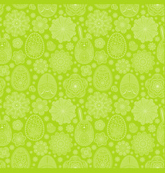 Seamless pattern with easter eggs and flowers vector
