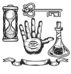 Set alchemy elements vector