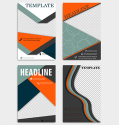 set of abstract triangle brochures flyers design vector image