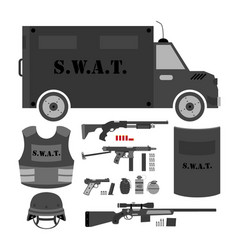Set of swat police gear swat bus shield helmet vector