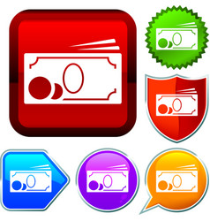Set shiny icon series on buttons cash vector