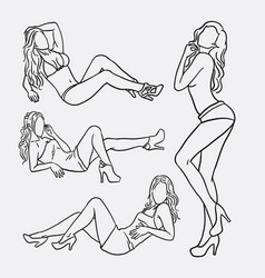 sexy girl pose sketches vector image