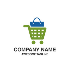 shopping trolley with bag logo shopping logo vector image