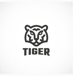 Simple line style tiger face abstract icon vector