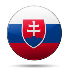 slovakia flag button with reflection and shadow vector image