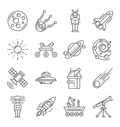Space Line Icon Set vector image