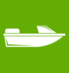 Sports powerboat icon green vector