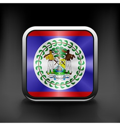 Square icon with flag of belize with reflection vector image