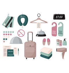 Staying in hotel elements set travelling vector