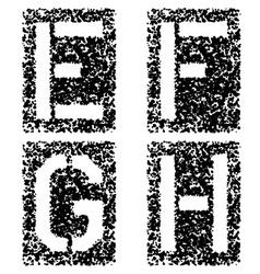Stencil angular spray font letters E F G H vector