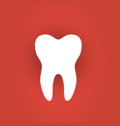 Sticker paper tooth on red background vector