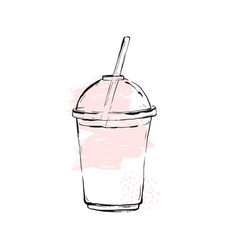 Strawberry milkshake on white background vector