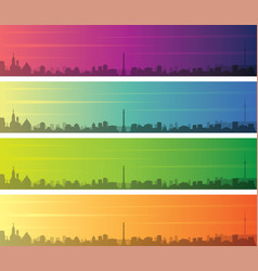 stuttgart multiple color gradient skyline banner vector image