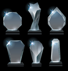 transparent trophy awards glass award on stand vector image