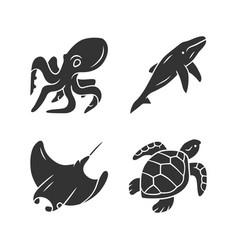 Underwater world glyph icons set swimming octopus vector