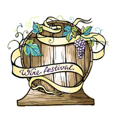 Watercolor wooden barrel wrapped in ribbon vector