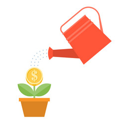 watering can and dollar plant in pot vector image