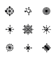 Wind rose icon set vector image