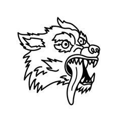 Wolf in line style design element for emblem sign vector
