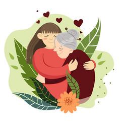 woman hugs grandmother flowers and plants vector image