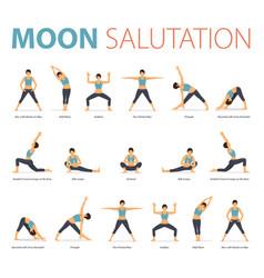 yoga poses for yoga moon salutation vector image